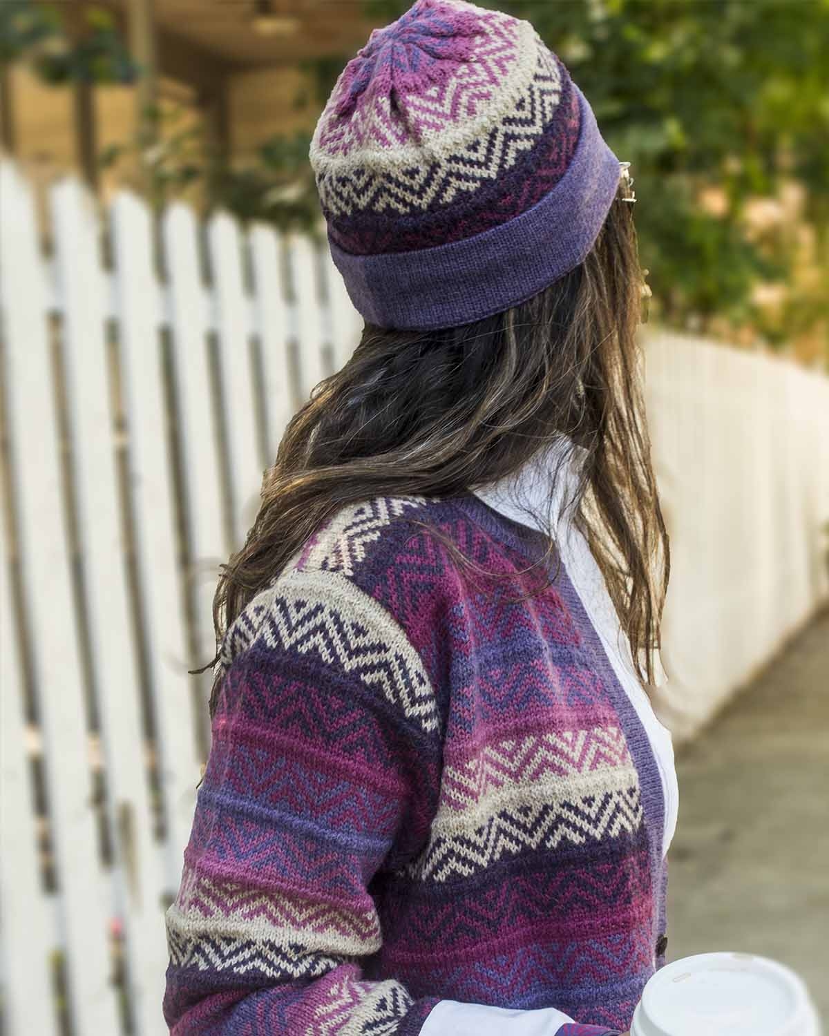 CHICAGO EXTRA FINE ALPACA SWEATER AND BEANIE SET- back