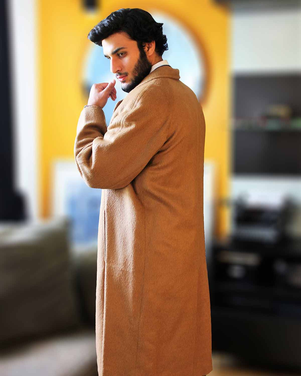 OLIVIER:  FULL LENGTH ALPACA OVERCOAT - back