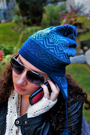 AZURE ALPACA WINTER HAT - front