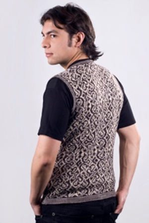 LEON V NECK ALPACA SWEATER VEST - back