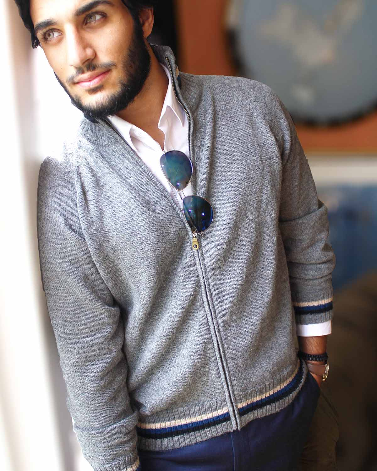 front-MADEMAN FULL-ZIP ALPACA CARDIGAN