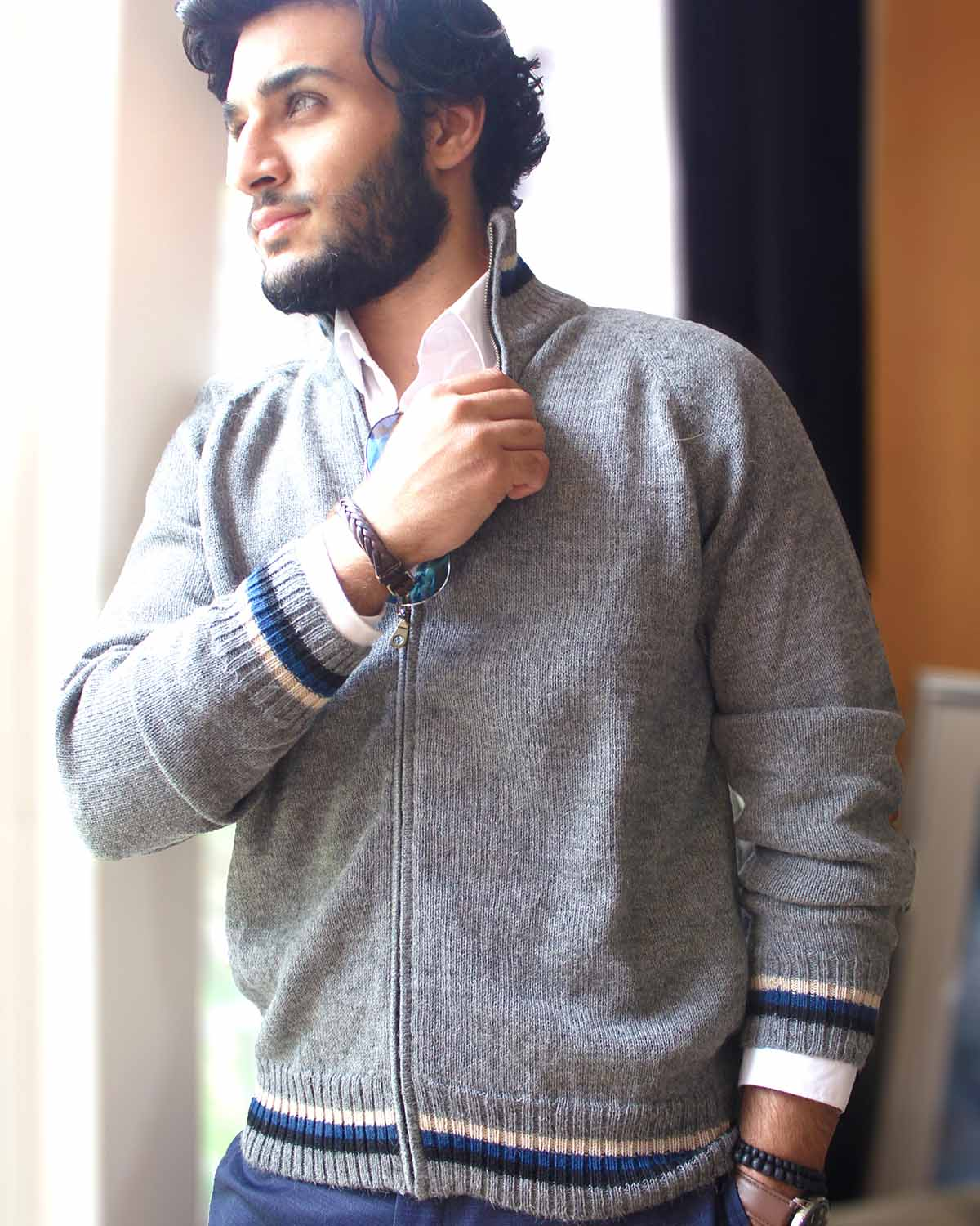 MADEMAN FULL-ZIP ALPACA CARDIGAN - back