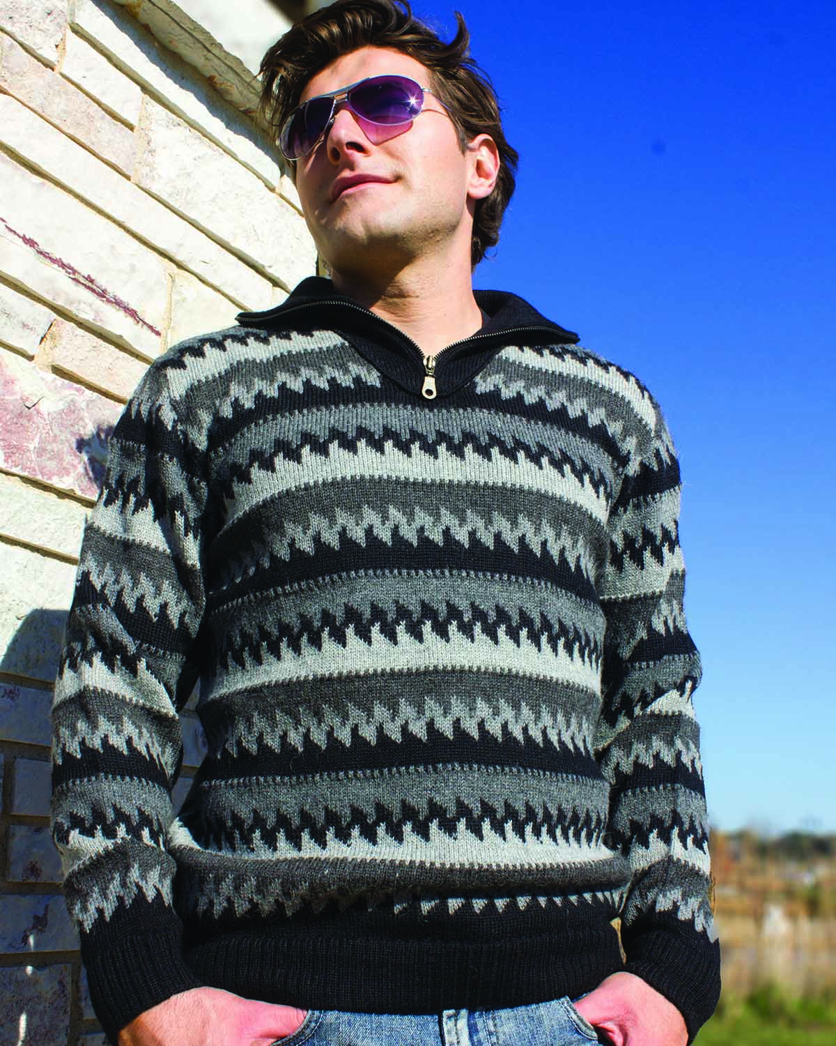 front-HOMMES CLASSIC MOCK NECK QUARTER-ZIP ALPACA SWEATER