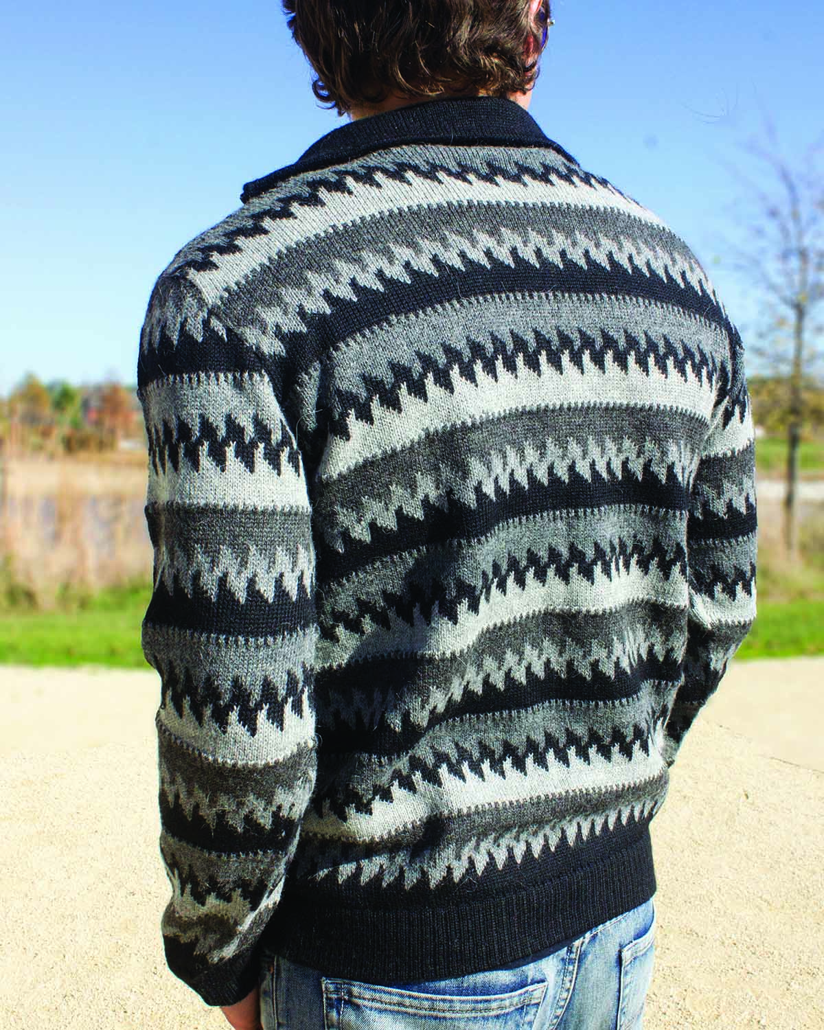 back-HOMMES CLASSIC MOCK NECK QUARTER-ZIP ALPACA SWEATER
